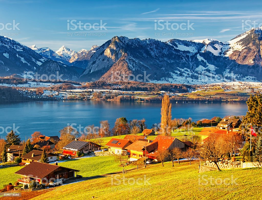 Thun lake region rural view in winter morning stock photo