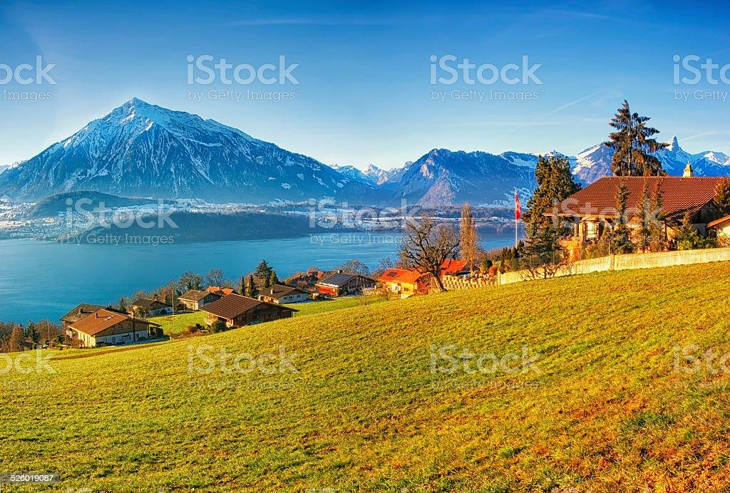 Thun lake region rural view in winter morning sunrise stock photo