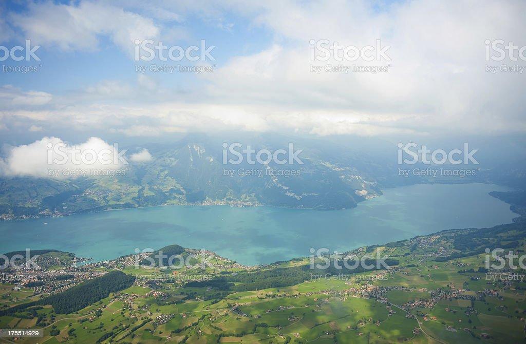 thun lake under the fog royalty-free stock photo