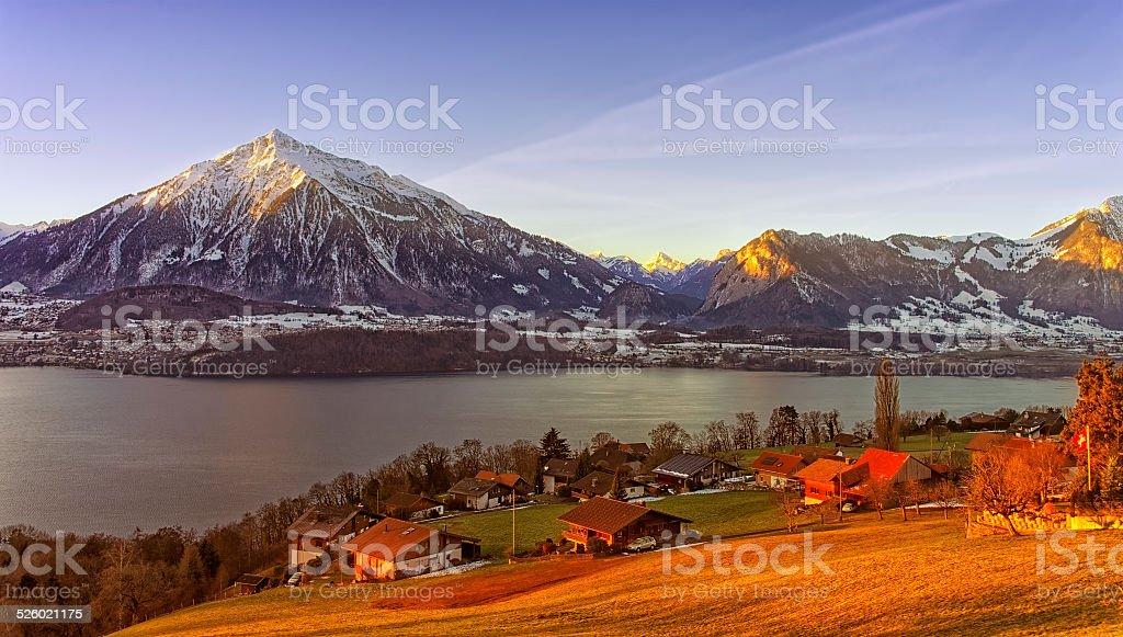Thun lake view in winter morning sunrise stock photo