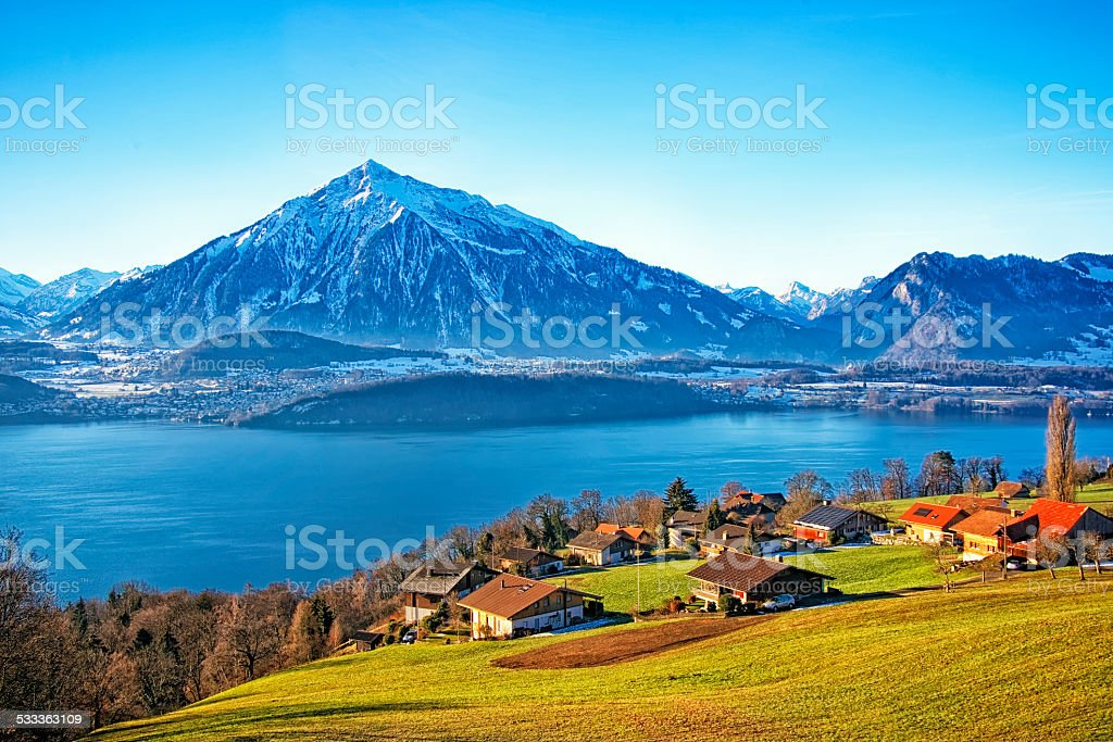 Thun Lake view in winter stock photo