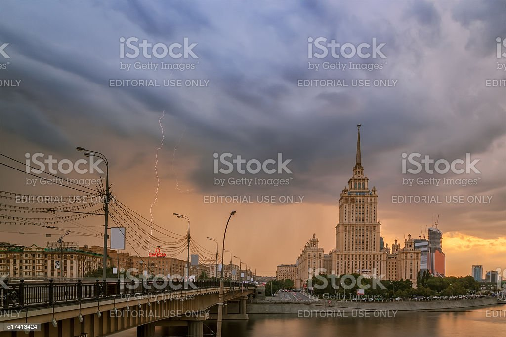 Thunder and lightning in Mosco stock photo