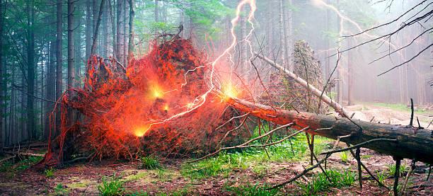 Thunder and lightning strike stock photo