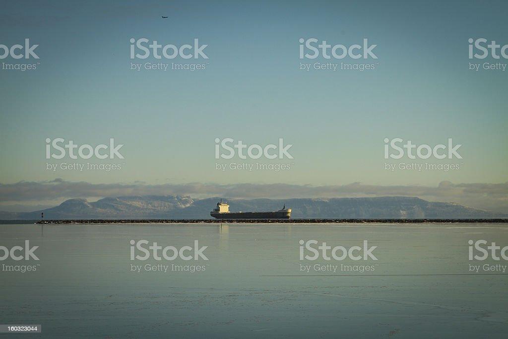Thunder Bay Sleeping Giant in Winter royalty-free stock photo