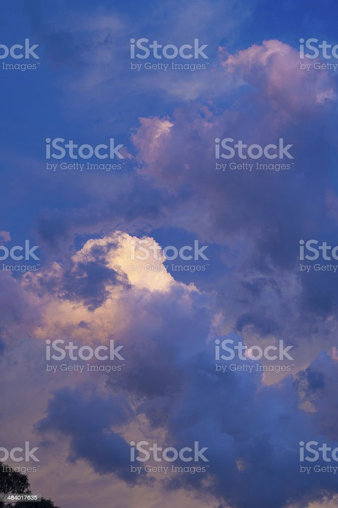 Thunder clouds on summer eve stock photo