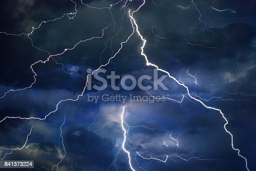 Thunder, lightning, and rain on a stormy summer night.