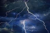 Thunder, lightning, and rain on a stormy summer night.