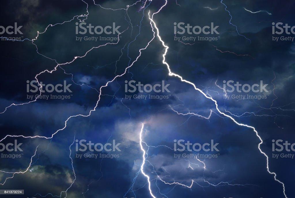 Thunder, lightning, and rain during summer storm stock photo