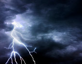 Thunder, lightnings and stormy sky in summer