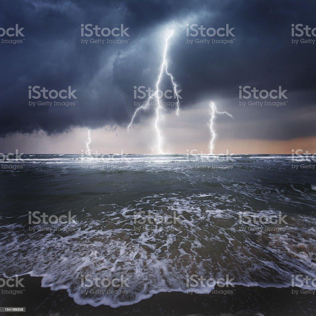 Thunder on the ocean stock photo