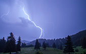 Thunderstorm over a mountain range near Pamporovo, Bulgaria