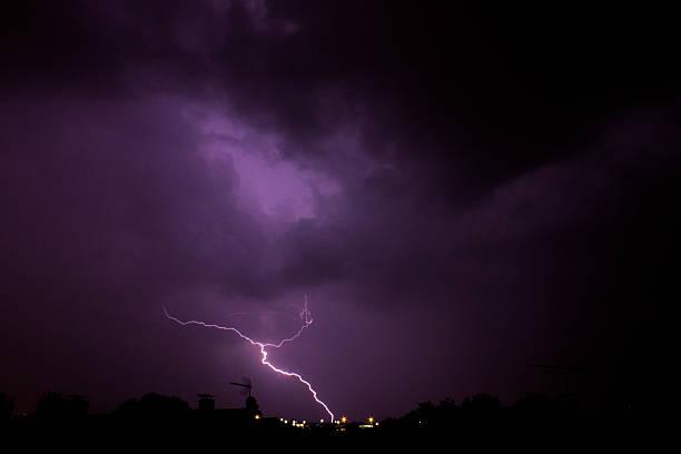 Thunder strikes ahead stock photo