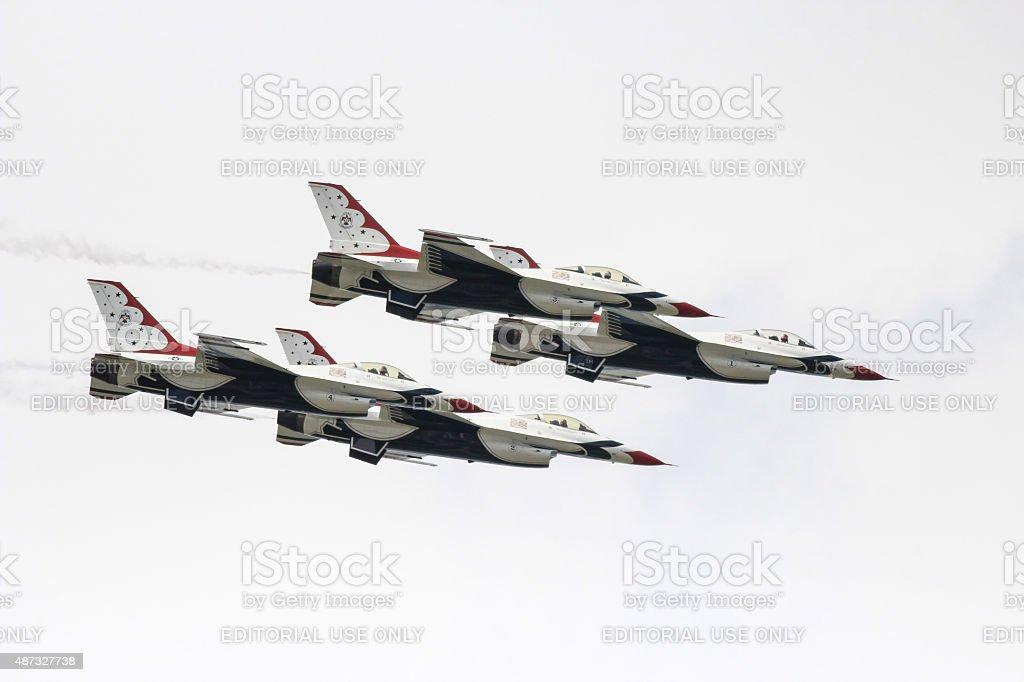 Thunderbird demonstration in airshow stock photo