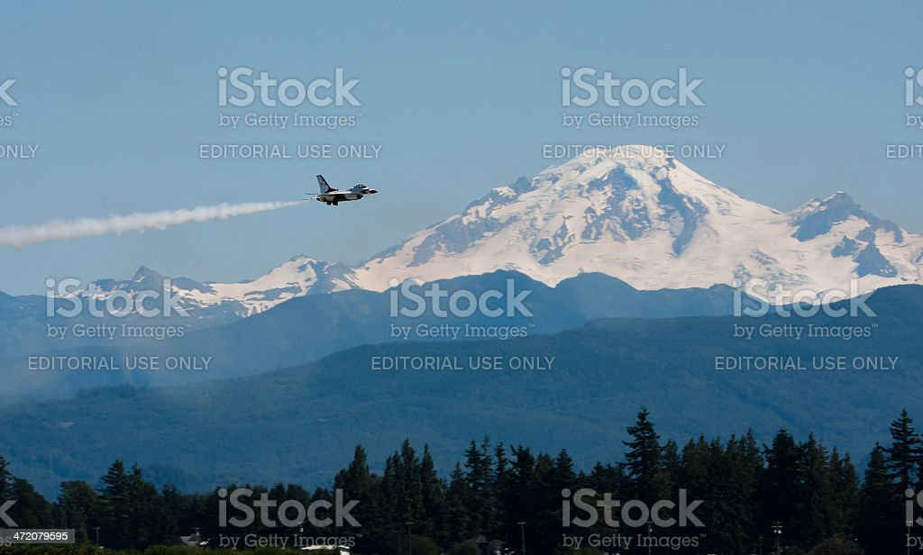 Thunderbird In Front of Mount Baker stock photo