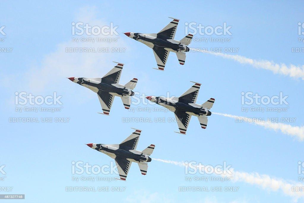 Thunderbird pattern in airshow stock photo