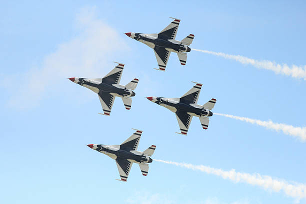 thunderbird pattern in airshow - sonic boom stock photos and pictures