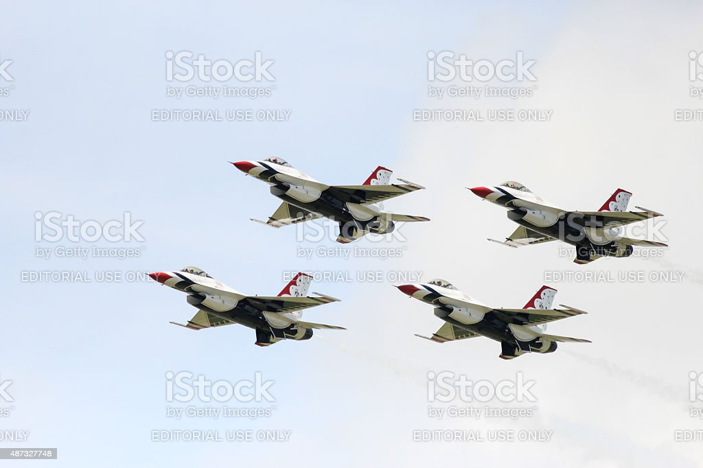 Thunderbirds formation in mid-air stock photo