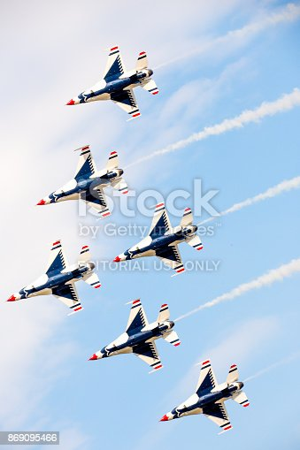 Joint Airbase Andrews, Maryland, USA - September 16, 2017.  The United States Air Force Thunderbirds perform at the annual air show, this year celebrating the 70th anniversary of the USAF.