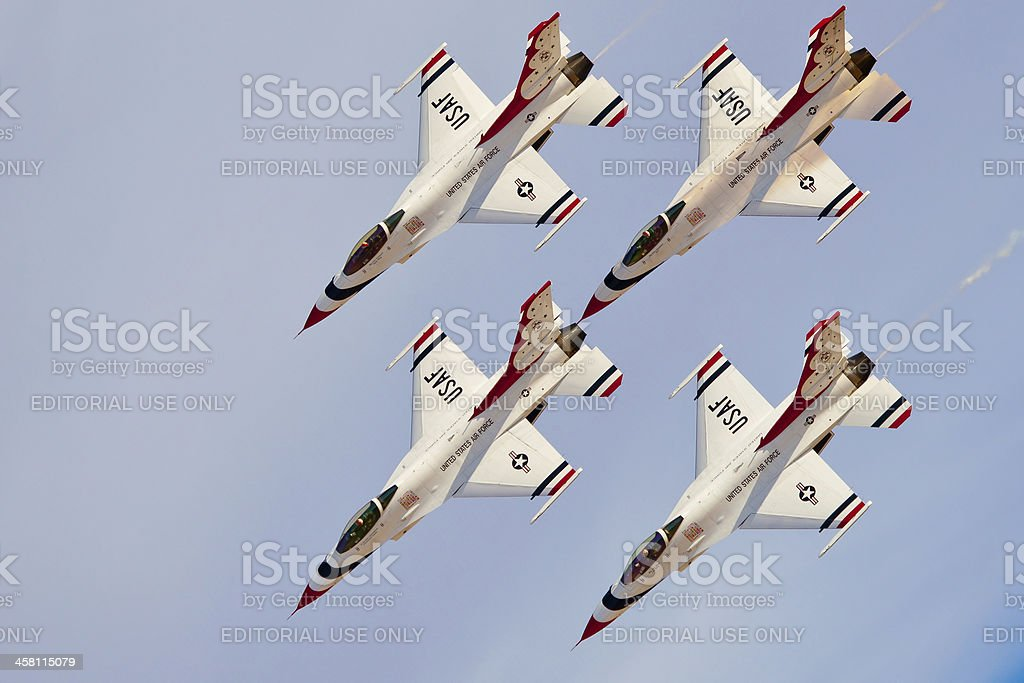 USAF Thunderbirds in formation diamond royalty-free stock photo