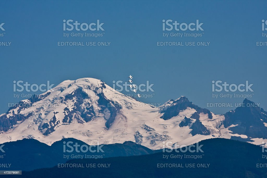 Thunderbirds In Front of Mount Baker stock photo