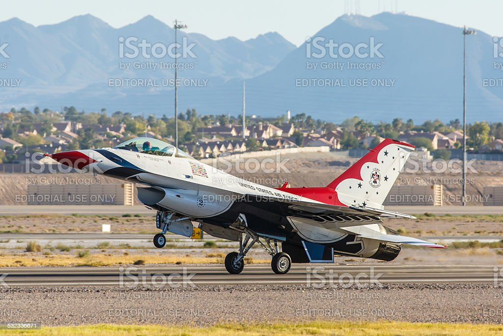 USAF Thunderbirds lands on a runway at Nellis AFB stock photo