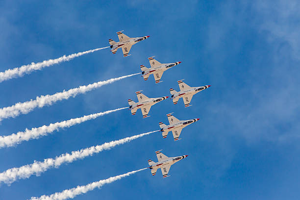 usaf thunderbirds perform air show routine - sonic boom stock photos and pictures