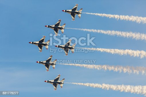 Las Vegas, USA - November 8, 2014: USAF Thunderbirds perform air show routine during Aviation Nation at Nellis AFB on November 8,2014 in Las Vegas,NV. Squadron is the official air demonstration team for the USAF.