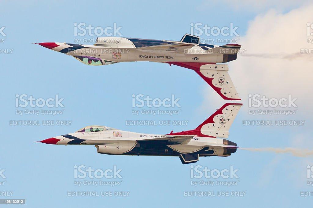 USAF Thunderbirds performing Calypso pass stock photo