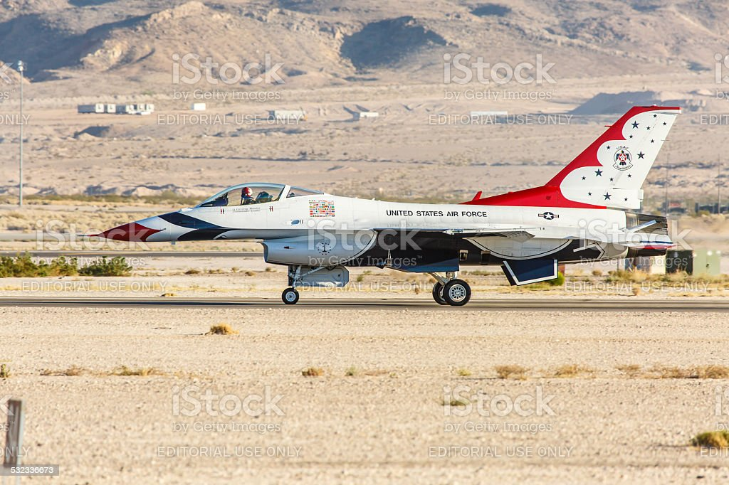 USAF Thunderbirds taxis on a runway at Nellis AFB stock photo