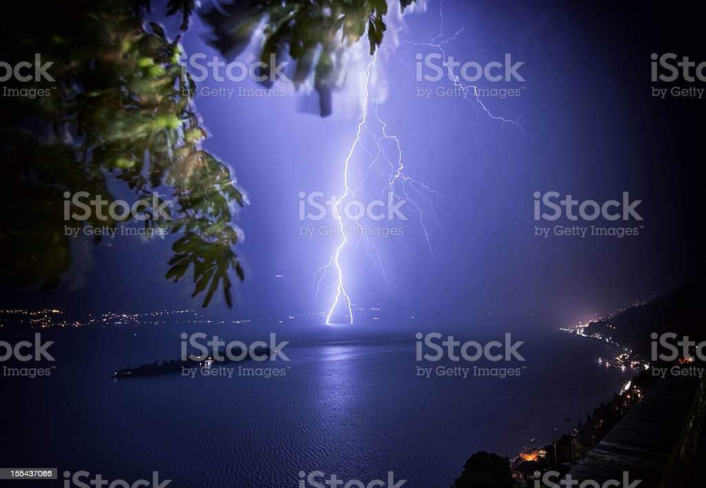 thunderbolt impact in lake Maggiore, Switzerland royalty-free stock photo