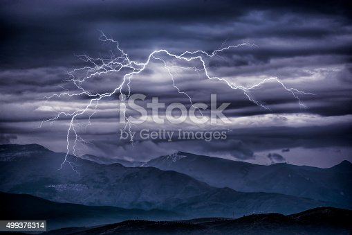 503731700 istock photo Thunderbolts over mountains 499376314