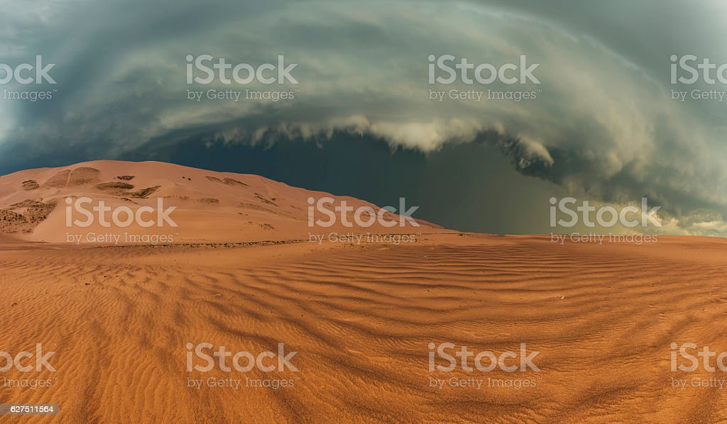 Thunderclouds in the desert stock photo