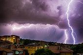 Thunderhead and Lightning Over City.