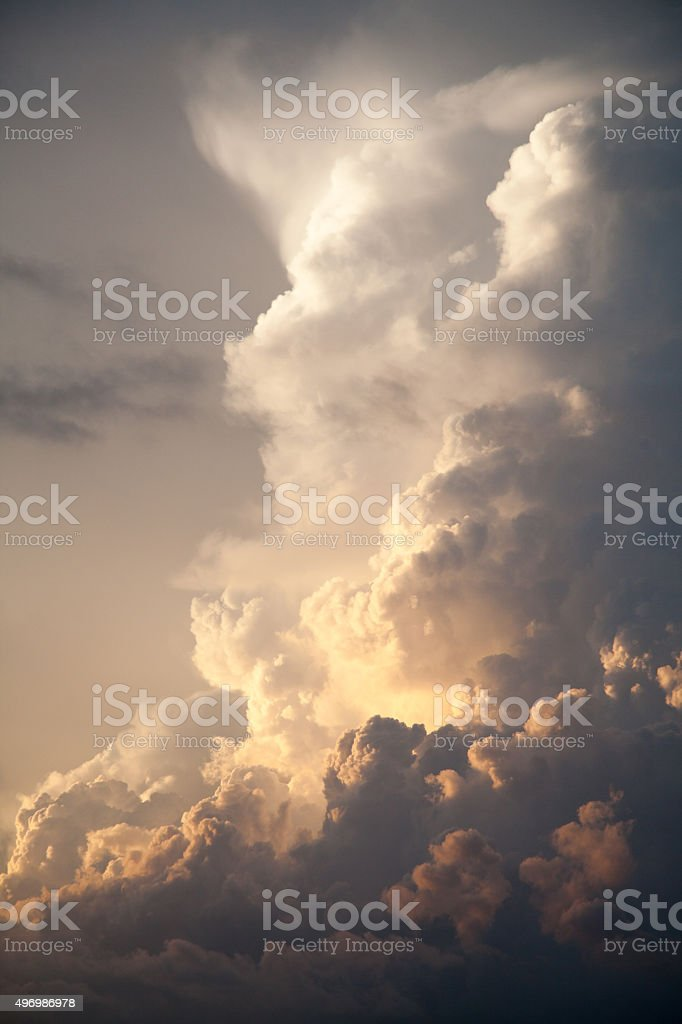 Thunderhead Heavenly Sky White Storm Clouds Background Cloudy Sk stock photo