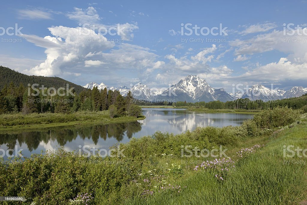 Thunderheads over Mount Moran and Snake River Grand Tetons Wyoming royalty-free stock photo