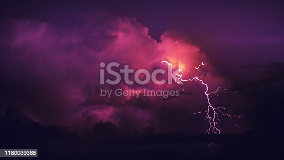 Thunderstorm and beautiful colorful clouds. Close-up