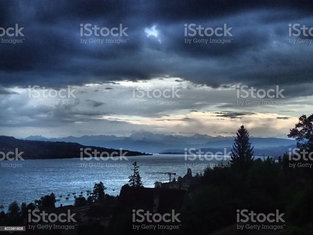 Thunderstorm approaching the Lake Zurich stock photo