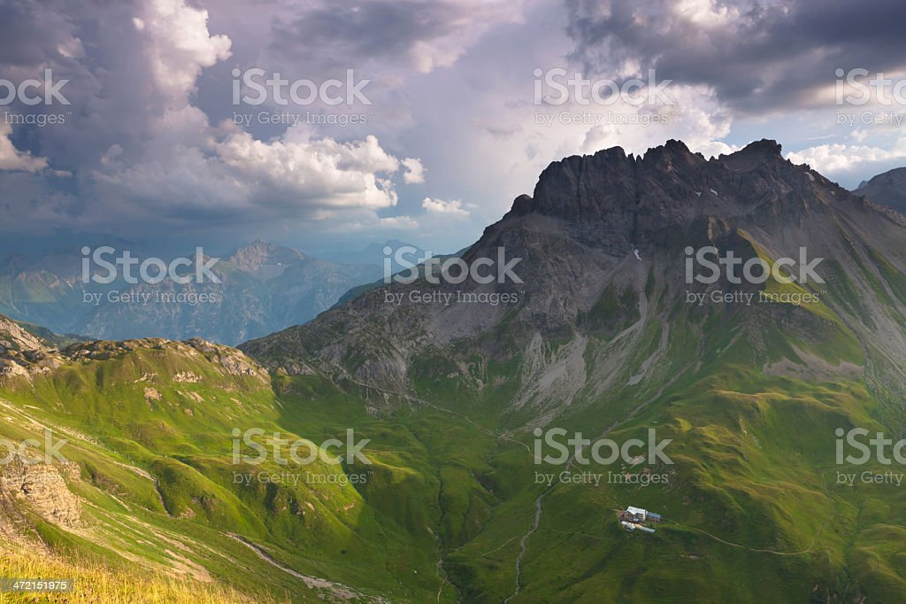 thunderstorm approaching the lechtaler alps stock photo
