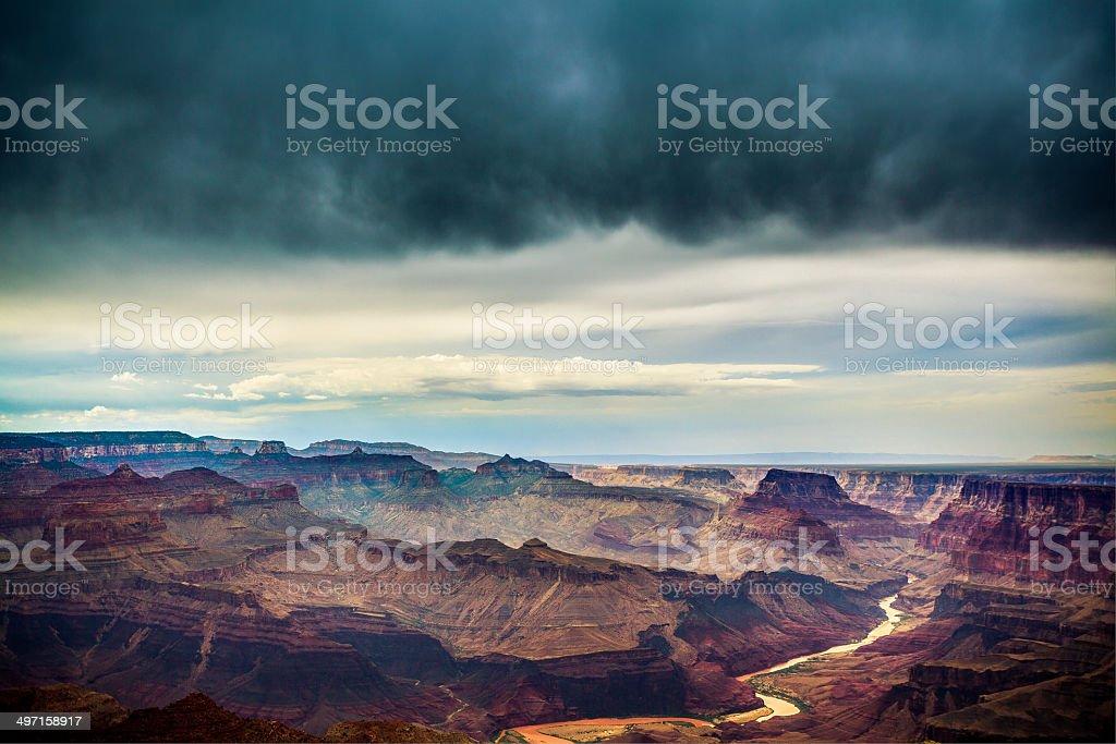 Thunderstorm at Grand Canyon National Park and Colorado River stock photo