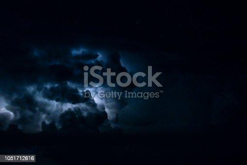 istock thunderstorm at night with lightnings 1051712616