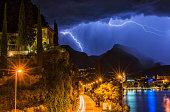 Thunderstorm, lightniung and rain over Riva del Garda.