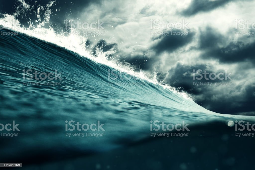 Thunderstorm at the sea illustration. Weather, nature and climate...