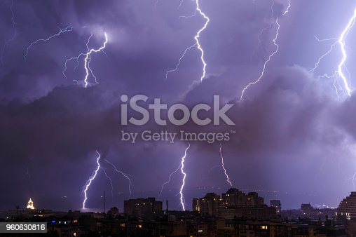 istock Thunderstorm by night over the city of Varna,Bulgaria 960630816