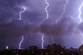 Thunderstorm by night over the city of Varna,Bulgaria.
