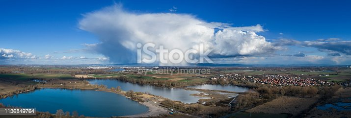Thunderstorm cloud over German landscape, cumulonimbus, aerial view