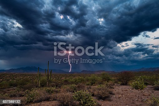 Thunderstorm with dark clouds and lightning over the Arizona desert.