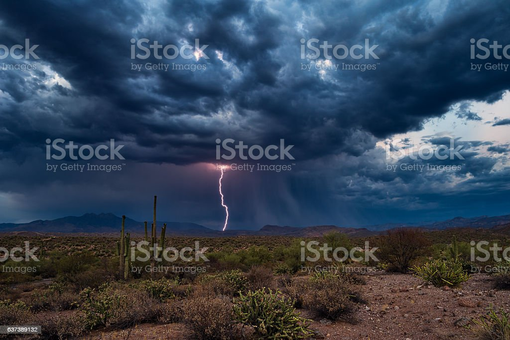 Thunderstorm clouds with lightning stock photo