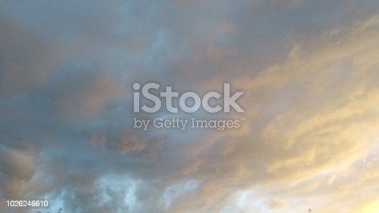 Thunderstorm cloudscape gray orange blue