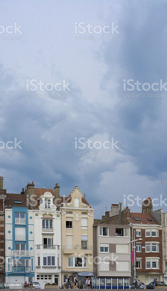 Thunderstorm forming over Dunkerque stock photo
