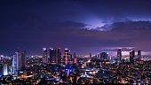 Lightning striking various areas in Istanbul at night.